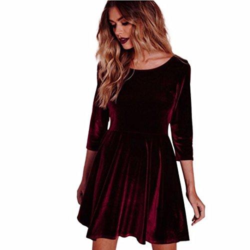 Elecenty Damen Samtkleid Frauen Kleider Dreiviertel Ärmel Rundhals Langarmkleid Solide Knielang Kleid Hemdkleid Abendkleider Partykleid (M, Rot)