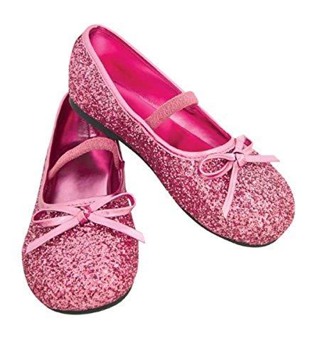Child's Pink Glitter Costume Flats, Large