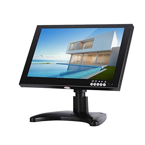 Pantalla Monitor Cámara Seguridad, Monitor Juegos 10.1 Pulgadas con Soporte, Pantalla LCD HDMI 16: 9 1280 * 800 con Puerto VGA/BNC/HDMI/AV/USB, para Seguridad en el Hogar/Computadora(Negro)