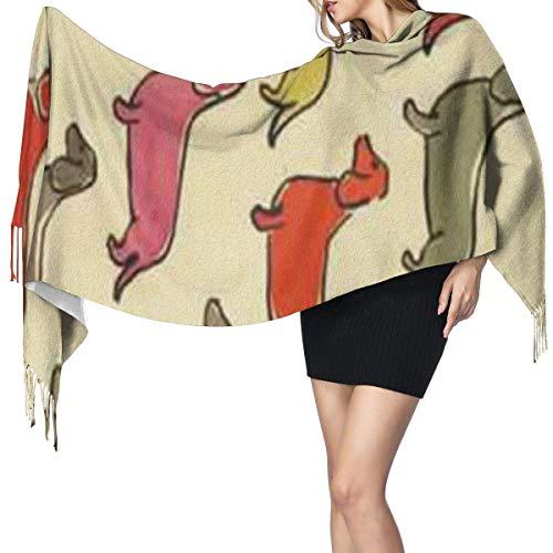 Manta, Tapiz, Accesorios de Vestidos, Bufanda con Flecos, patrón de Perro Salchicha de Colores, Bufandas cálidas Grandes y largas, Estola de mantón de Pashmina