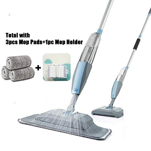 MZ Mop 3 in 1 Spray Mop Und Kehrmaschine Staubsauger Hartbodenreinigung Flach Werkzeug-Set for Haushalts-Hand Easy Use Mop (Color : 3 pcs Pads 1 Holder)
