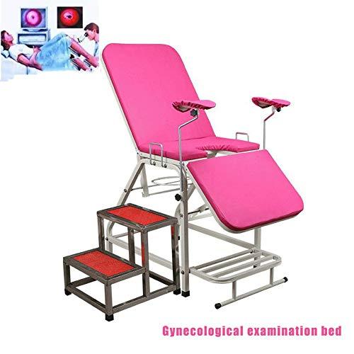DZWJ Gynäkologisches Untersuchungsbett, tragbares Bett-Krankenhaus-Klinik-Bett-Untersuchungsbett-einfaches Operations-Bett-medizinische Produkte,Rosa