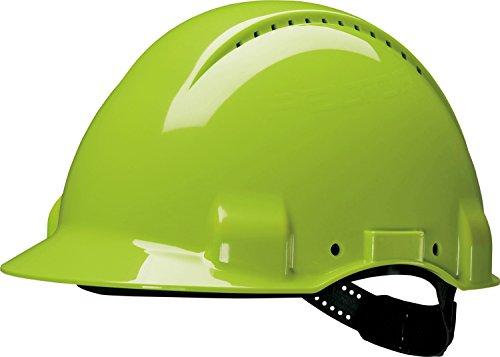 3M G30DUV Peltor Schutzhelm G3000D, ABS, Helm Innenausstattung mit Leder SchWeißband und Pinnlock Verschluss, belüftet, NeonGrün