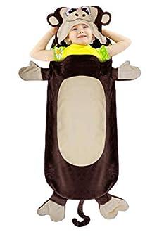Catalonia Monkey Blanket for Kids Hooded Wearable Snuggle Tail Blanket Super Soft Plush Sleeping Bags for Children Teens Boys Girls All Seasons Gift Idea