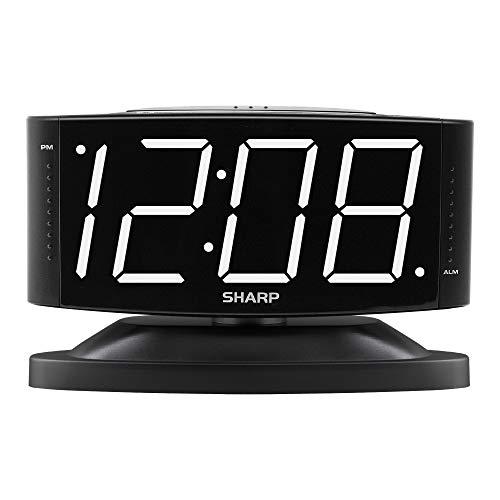 SHARP Home LED Digital Alarm Clock – Swivel Base - Outlet Powered, Simple Operation, Alarm, Snooze, Brightness Dimmer, Big White Digit Display, Black Case