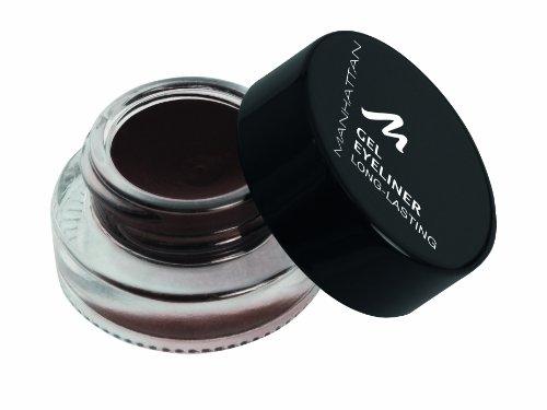 Manhattan Gel Eyeliner – Wasserfester brauner Eyeliner im Glastiegel in cremiger Gel Textur – Farbe Brown 93W – 1 x 3g