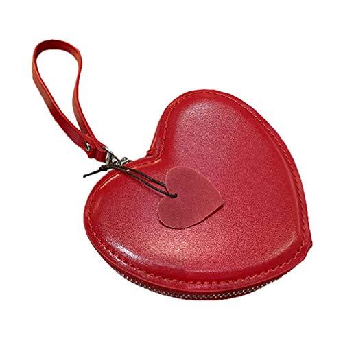 Amosfun Monedero de cuero con llavero rojo con forma de corazón de...