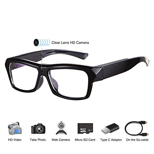 Cheap Video Glasses - HD Camera Glasses with 32GB Memory Card - Eye Glasses with Camera - Wearable C...