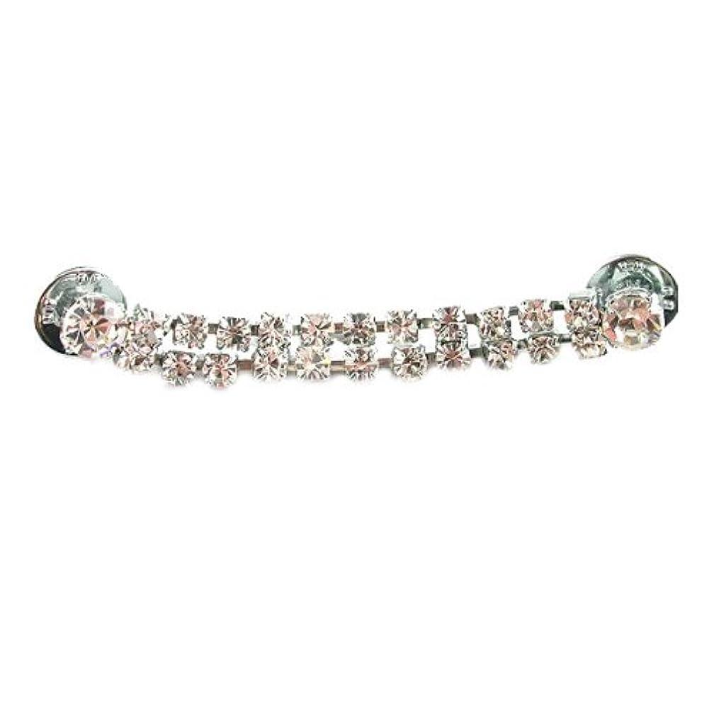 Mode Beads 2-Row Rhinestone Pin/Buckle with Crystal/Imitation Rhodium Plated Setting, 3-1/8-Inch
