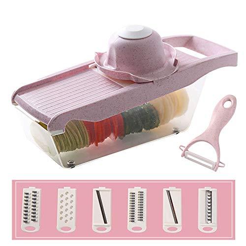 Lightlamp Cortador de Alambre de Papa artefacto rallador hogar Frotar rábano Papas Fritas en rodajas Cocina de Corte Multifuncional (Color : Pink)