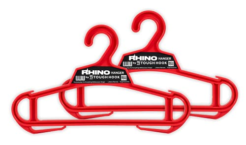 Rhino Hanger  Set of 2 The Everyday for Everything Hanger   USA Made   200 LB Load Capacity  Premium Professional Grade Large Heavy Duty Standard Hanger   Unbreakable Multipurpose All-Purpose (Red)