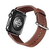 TEZER Kompatibel 5 Farben Band Für Apple Watch 38/42mm, Wax Series iWatch Leder Band für Apple...