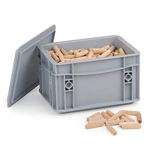 Holzdübel 12 x 50 mm   1kg geriffelte Langholzdübel   Riffeldübel aus Massiver Buche   Lieferung in WFix Systembox   Ideal für Meisterdübler