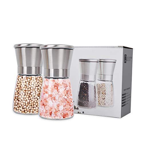 PROKITCHEN 2x Salzmühle Pfeffermühle mit Keramikmahlwerk, Mühlenset aus Edelstahl + Glas, Zubehör für Küchen und Grill(Ohne Gewürzinhalt)