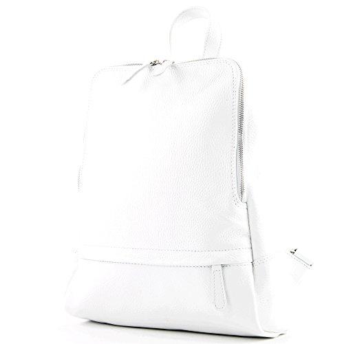 modamoda de - T138 - ital Damen Rucksacktasche aus Leder, Farbe:Weiß