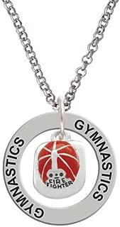 Silvertone Red Enamel Firefighter Helmet - Gymnastics Affirmation Ring Necklace