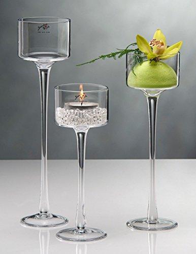 Sandra Rich 3 Größen, Teelichthalter auf Fuß, Glas, H. 15-20-25cm D. 9cm rund