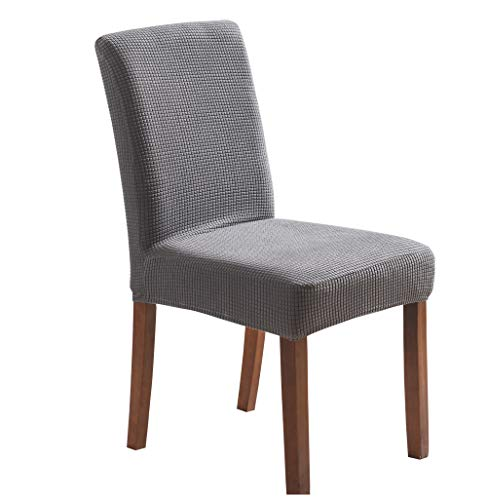 SIMIDA Große Stuhlhussen mit hoher Rückenlehne, Esszimmerstuhlhussen für Esszimmer, Esszimmerstühle, 4er-Set mit Spandex-Jacquard-Stoff, abnehmbare waschbare Stuhlbezüge für Esszimmerstühle 4 (grau)