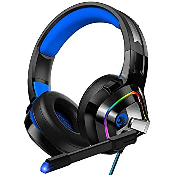 ZIUMIER Gaming Headset PS4 Headset Xbox One Headset with Noise Canceling Mic and RGB Light PC Headset with Stereo Surround Sound Over-Ear Headphones for PC PS4 PS5 Xbox One Laptop