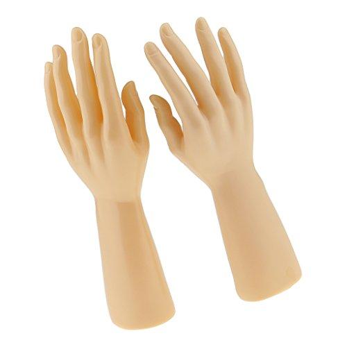 amagogo 1 Paar Männlich Rechts Links Schaufensterpuppe Hand Schmuck Armband Handschuhe Ring Display Ständer Organizer Halter Rack Schwarz Weiß Hautf - Hautfarbe