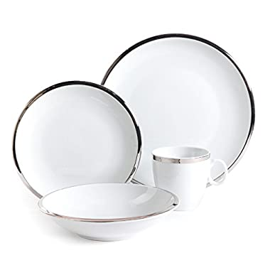Isaac Mizrahi 98979.16RM Skyline 16 Piece Porcelain Dinnerware Set, Silver and White