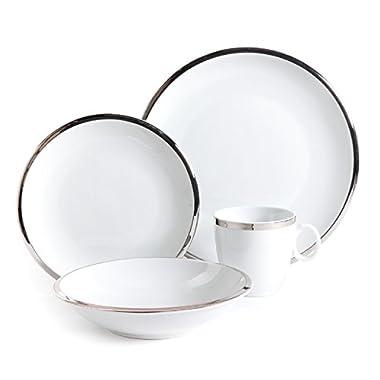 Isaac Mizrahi Skyline 16 Piece Porcelain Dinnerware Set, Silver and White