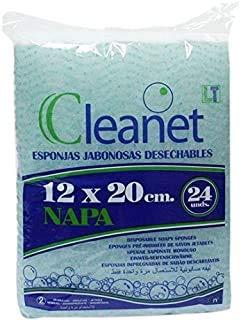 Cleanet: 120 esponjas jabonosas desechables napa 12x20cm 90grs. 5 paquetes x 24 unidades (120 unidades)