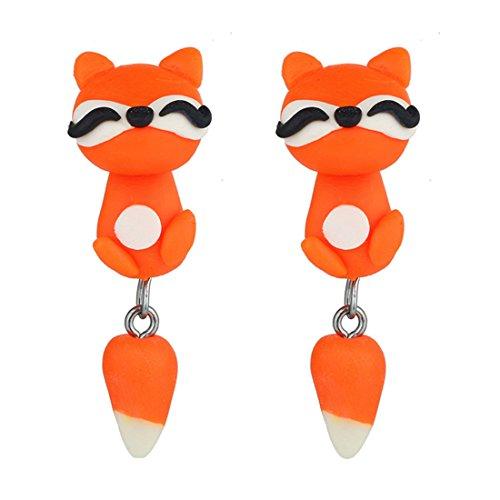 Zorro Pendientes de Niña creativos 3D Personalizados Pendientes de Animal