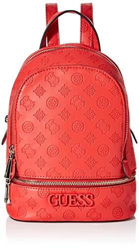 Guess Damen Skye Backpack Rucksack, Rot (Poppy), 9x26.5x20 Centimeters