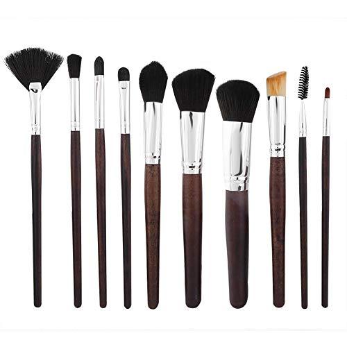 Maquillage Pinceau Set, 10 Pcs Portable Poignée En Bois Brosse Kit Sourcils Fondation Correcteur Fard À Paupières Highlight Cosmetic Brush