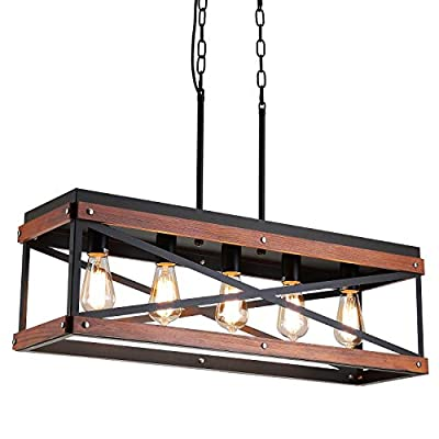 Rustic Farmhouse Kitchen Island Lighting, Wood and Metal Linear Chandelier, 5 Lights Industrial Pendant Light Fixture for Kitchen Island Dining Room Living Room Table, Black