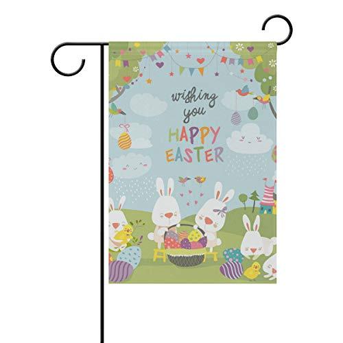 ALINLO Happy Ostern Wald Kaninchen Bunte Eier Garten Flagge 30,5 x 45,7 cm Custom doppelseitige Hofflagge Polyester Hausbanner für Innen Außen Home Decor, Polyester, Mehrfarbig, 12x18(in)