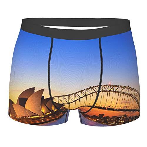 Judascepeda Männerunterwäsche,Sydney Australia Opernhaus Ansicht Dämmerungszeit am Abend Sydney, Australien, Boxershorts Atmungsaktive Komfortunterhose Größe XL