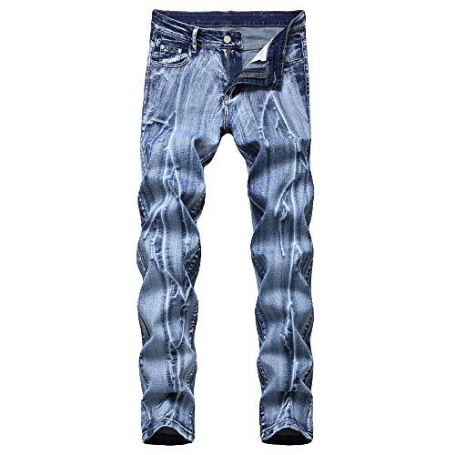 Jeans para Hombres Stretch Color Liso Recto nostálgico Lavado Blanco Pantalones Casuales Delgados de Gran tamaño para Hombres