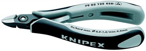 KNIPEX Alicates de precisión de corte diagonal para electrónica ESD (125 mm) 79 02 125 ESDSB (cartulina autoservicio/blíster)