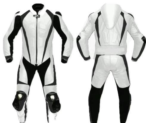 Motorcycle White and Black One Piece Leather Racing Suit CE Approved Protection (X-Large)