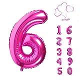40 pulgadas Globos de número, número 0-9, Globos de Color Rosa de...