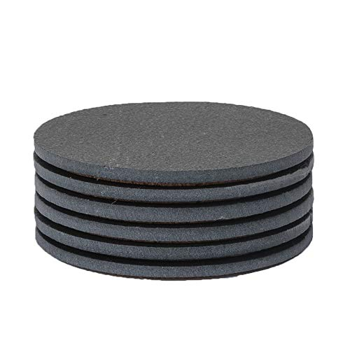 Sona Home Slate Coasters, Tasteful Round Black Coasters with Absorbent Top & Non-Slip Cork Bottom, Stone Coasters for Drinks, Set of 6, 4.3'