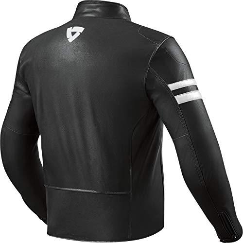 REV'IT! Motorradjacke mit Protektoren Motorrad Jacke Prometheus Lederjacke schwarz/weiß 52, Herren, Tourer, Ganzjährig