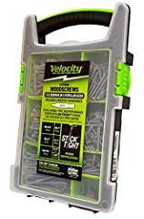 Velocity Exterior Site-Case includes 550 Screws: 120p #10x2½, 90p #10x3, 90p #10x3½, 80p #8x2, 100p #8x1½, 70p #8x1¼, and 4 Hexstix Bits neatly packaged in a durable & portable screw case with removeable & reusable storage case Patented Hexstix drive...
