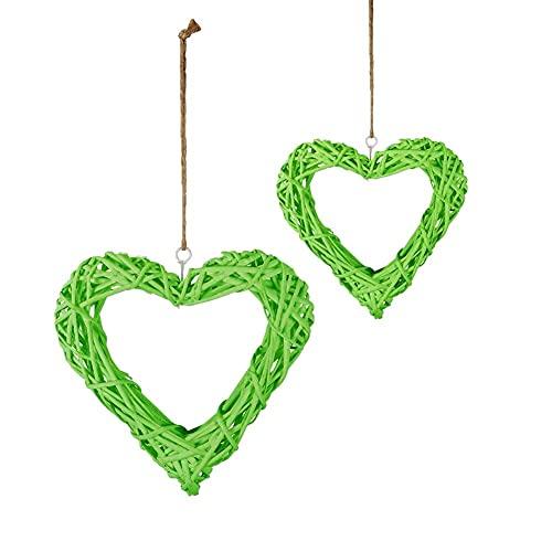 Cuore di Rattan, Arazzo con cuori intrecciati, Decorazione Primaverile di Rattan Decorazione per Porta e Finestra decorazione da parete, decorazione per matrimonio, ghirlanda in rattan - Verde