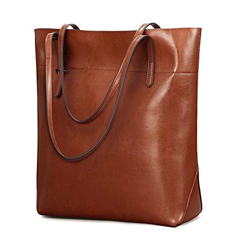 Kattee Vintage echtes Leder Tote Schultertasche Damen, Handtaschen Tragetasche Damen mit verstellbaren Griffe, Braun