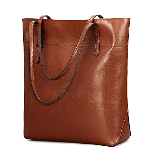 Kattee Vintage Genuine Leather Tote Shoulder Bag With Adjustable Handles (Brown)