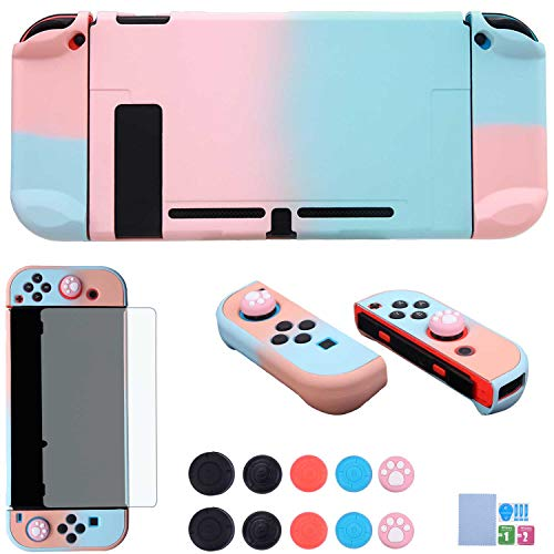Dockable Case for Nintendo Switch - COMCOOL 3 in 1 Protective Cover Case for Nintendo Switch and Joy-Con Controller with Screen Protector and Thumb Grips - Pink and Blue