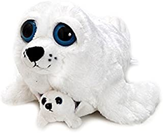 The Petting Zoo Bright Eye Pocketz Harp Seal Mom and Baby 13 inches