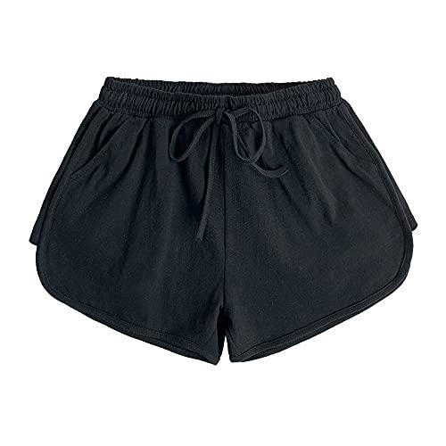 Pantalones Cortos para Mujer Primavera y Verano Pantalones Cortos Holgados y versátiles de Cintura Alta Pantalones Cortos Casuales de Pierna Ancha Pantalones Cortos Deportivos de Cintura elástica S