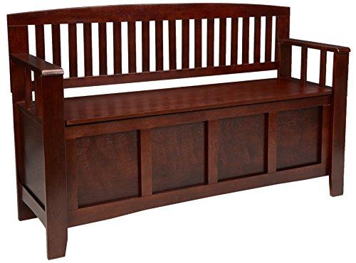 "Linon Home Dcor Linon Home Decor Cynthia Storage Bench, 50""w x 17.25″d x 32″h, Walnut"