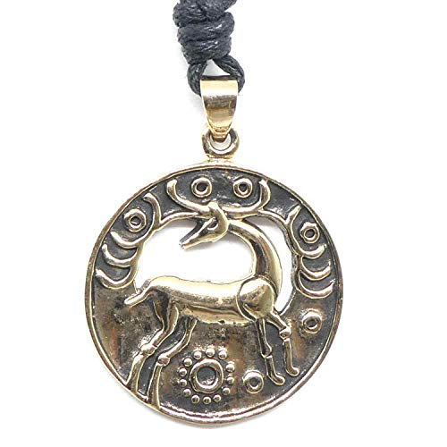 Drachensilber Hirsch Kelten Schmuck Bronze Anhänger Halskette keltischer Kettenanhänger