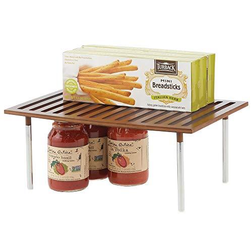 mDesign Küchen-Organizer – praktischer Schrankeinsatz aus Bambus und Metall – stilvoller Ordnungshelfer für Küchenschränke, Arbeitsplatten etc. – braun