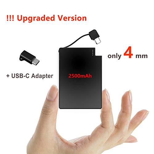 TNTOR 2500mAh Powerbank, Super Ultra Dünn Design [nur 4 mm] Built In Kable klein Externer Akku mit Sicherer Ladechip (für Android)